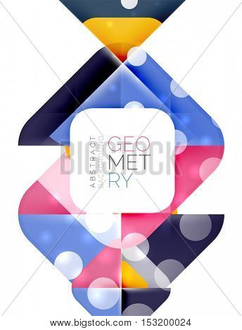 Square banner geometric template, vector
