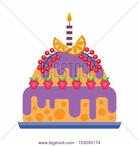 Cake for birthday isolated cake vector. Wedding or birthday cake sweet dessert