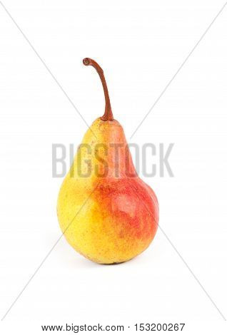 Yellow ripe fresh pear isolated on white background