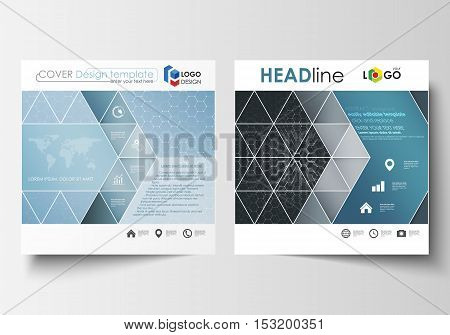 Templates for square design brochure, magazine, flyer, report. Leaflet cover, easy editable vector layout. Chemistry pattern, hexagonal molecule structure. Medicine, science and technology concept