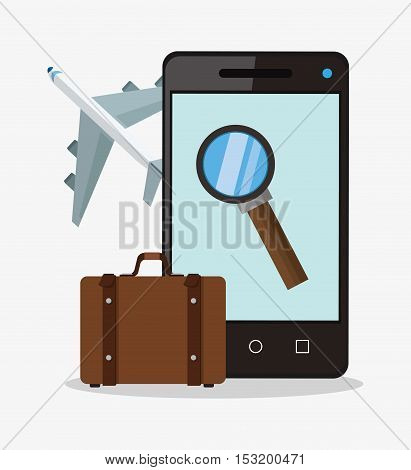 Smartphone lupe airplane and suitcase icon. Travel trip vacation and tourism theme. Colorful design. Vector illustration