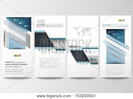 Flyers set, modern banners. Business templates. Cover design template, easy editable vector layouts. Chemistry pattern, hexagonal molecule structure. Medicine, science, technology concept
