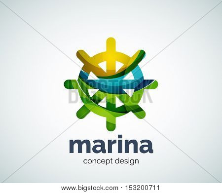 Vector marina, steering wheel logo template, abstract business icon