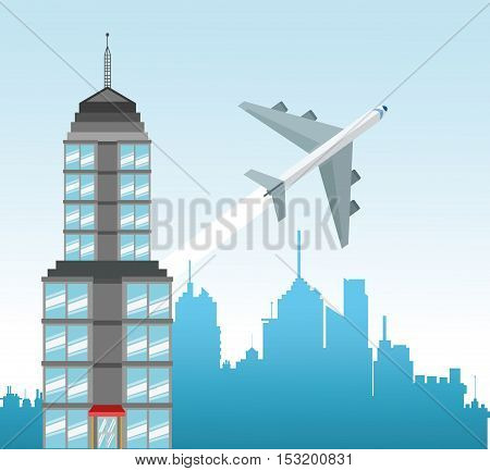 Airplane and city icon. Travel trip vacation and tourism theme. Colorful design. Vector illustration