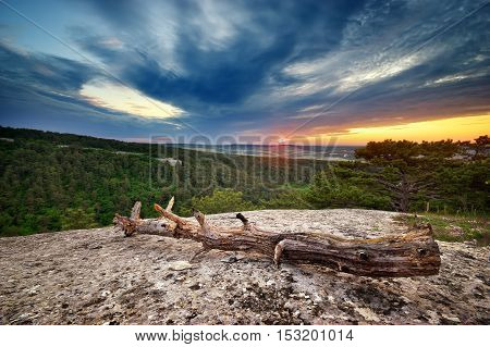 Beautiful mountain landscape on a sunset. Composition of nature