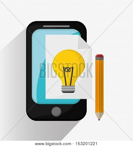 Smartphone bulb and pencil icon. Social media marketing and communication theme. Colorful design. Vector illustration