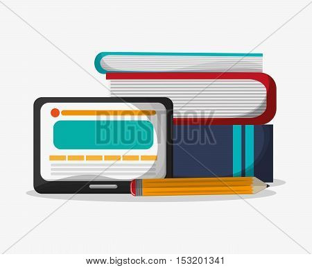 Tablet books and pencil icon. Social media marketing and communication theme. Colorful design. Vector illustration