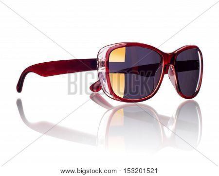 stylish women's sunglasses isolated on a white background