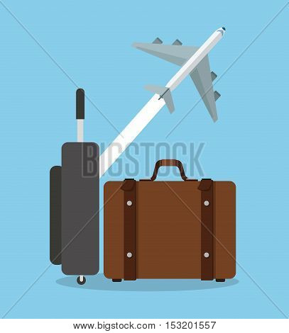 Suitcase and airplane icon. Travel trip vacation and tourism theme. Colorful design. Vector illustration