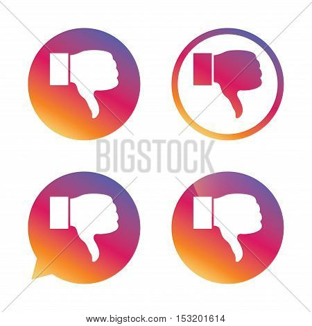 Dislike sign icon. Thumb down sign. Hand finger down symbol. Gradient buttons with flat icon. Speech bubble sign. Vector