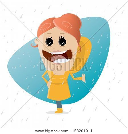 happy cartoon girl standing in the rain with a yellow raincoat