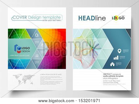 Business templates for brochure, magazine, flyer, annual report. Cover template, easy editable vector, flat layout in A4 size. Colorful design background with abstract shapes and waves, overlap effect.