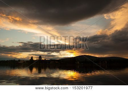 Dramatic sunset sky over the lake in Finland