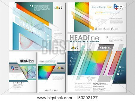 Social media posts set. Business templates. Cover template, easy editable flat layout in popular formats, vector illustration. Colorful design background with abstract shapes and waves, overlap effect.