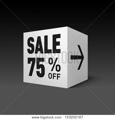 Cube Banner Template for Holiday Sale Event. Seventy-five Percent off Discount