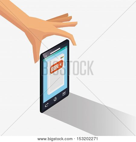 Smartphone icon. Social media marketing and communication theme. Colorful design. Vector illustration
