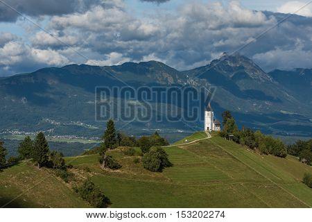 Church on the hill in Jamnik Slovenia