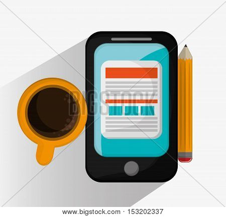 Smartphone coffee and pencil icon. Social media marketing and communication theme. Colorful design. Vector illustration