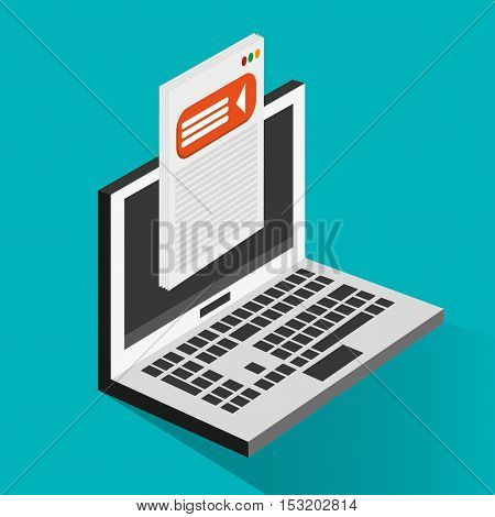 Laptop icon. Social media marketing and communication theme. Colorful design. Vector illustration