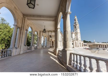Details of the old parish church of Fatima. The columns and the corridor.