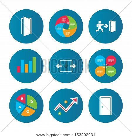 Business pie chart. Growth curve. Presentation buttons. Automatic door icon. Emergency exit with human figure and arrow symbols. Fire exit signs. Data analysis. Vector