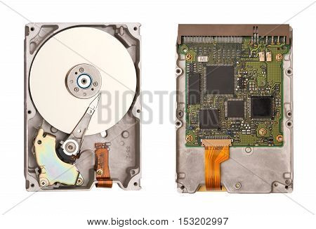 Hdd isolated on white background. Two sides of the hard disk. Computer chips. Inside of internal Harddrive