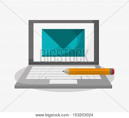 Laptop and envelope icon. Social media marketing and communication theme. Colorful design. Vector illustration