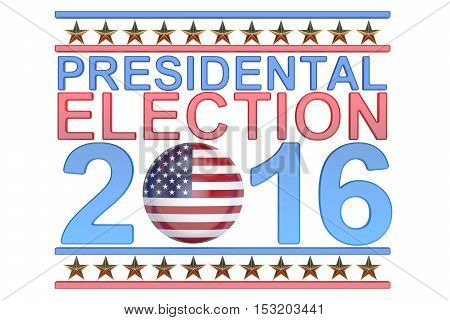 Election 2016 USA concept 3D rendering on white background