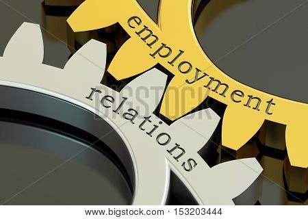 employment relations concept on the gearwheels 3D rendering