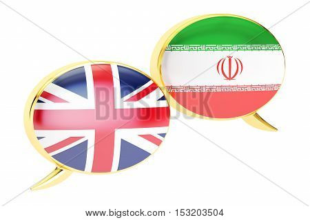 Speech bubbles English-Iranian conversation concept. 3D rendering