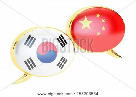 Speech bubbles Korean-Chinese translation concept. 3D rendering