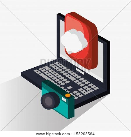 Laptop and camera icon. Social media marketing and communication theme. Colorful design. Vector illustration