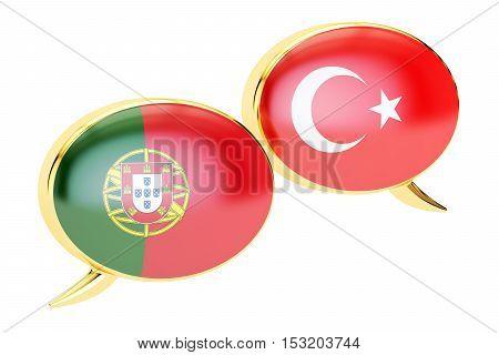 Speech bubbles Turkish-Portuguese conversation concept. 3D rendering