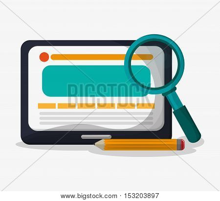 Tablet pencil and lupe icon. seo search internet marketing and web theme. Colorful design. Vector illustration