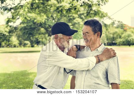 Senior Friends Retirement Talking Laughing Concept