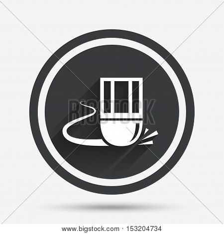 Eraser icon. Erase pencil line symbol. Correct or Edit drawing sign. Circle flat button with shadow and border. Vector