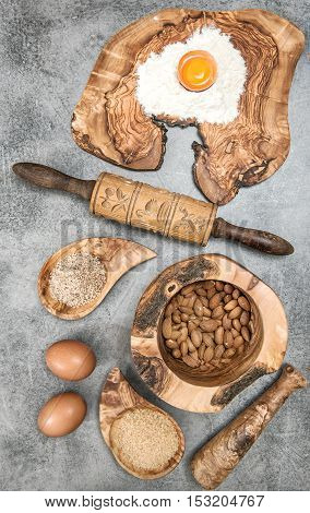Ingredients and spices for dough. Kitchen tools and utensils. Food background. Top view