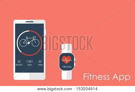 Smartphone and smart watch with fitness app concept. Vector illustration with copy space