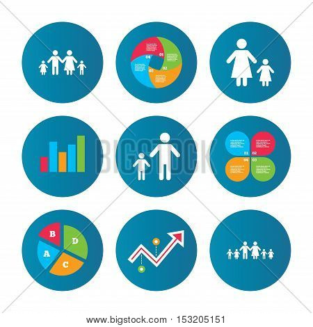Business pie chart. Growth curve. Presentation buttons. Large family with children icon. Parents and kids symbols. One-parent family signs. Mother and father divorce. Data analysis. Vector