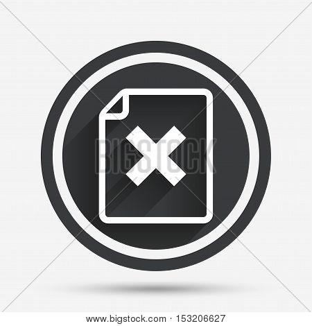 File document stop icon. Delete doc button. Remove file symbol. Circle flat button with shadow and border. Vector