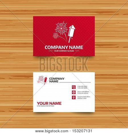 Business card template. Fireworks with rocket sign icon. Explosive pyrotechnic symbol. Phone, globe and pointer icons. Visiting card design. Vector