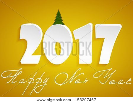 Happy new year. Congratulations to the 2017 year in the form of hanging in the air handwritten lettering on an orange background and a green tree for the number 0