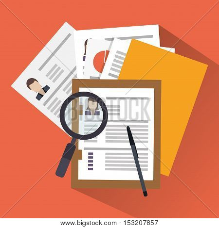 Document and lupe icon. Human resources search employee and business theme. Colorful design. Vector illustration