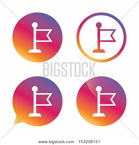 Flag pointer sign icon. Location marker symbol. Gradient buttons with flat icon. Speech bubble sign. Vector