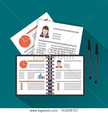 Document and pen icon. Human resources search employee and business theme. Colorful design. Vector illustration