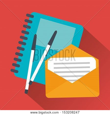 Notebook envelope and pen icon. Work time office and supplies theme. Colorful design. Vector illustration