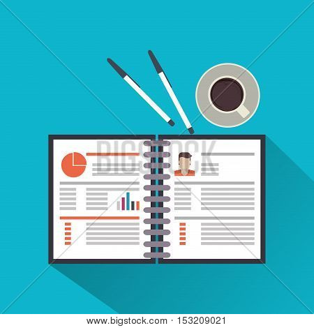 Document and coffee icon. Human resources search employee and business theme. Colorful design. Vector illustration