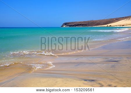 View on one of the best beaches in the world Sotavento on the Canary island Fuerteventura Spain.