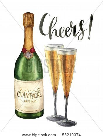 Watercolor bottle of champagne, wineglasses and cheers lettering. Bottle of sparkling wine with glasses isolated on white background. Party illustration for design, print or background