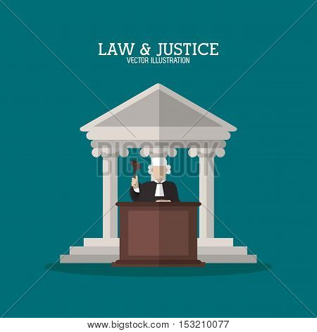 Building and judge icon. Law justice legal and judgment theme. Colorful design. Vector illustration